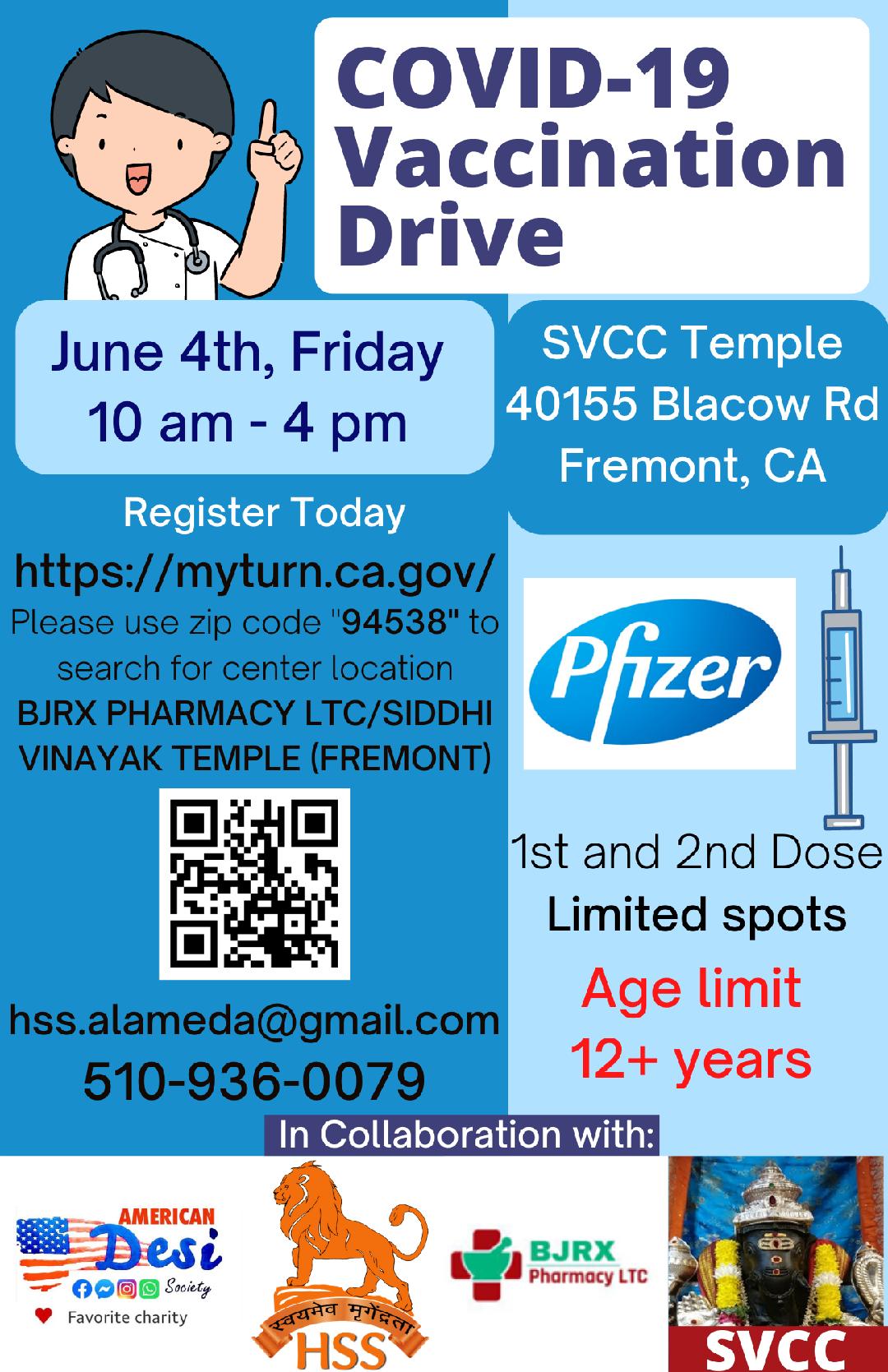 Jun 4 2021 - HSSS Vaccination Drive SVCC Temple Fremont