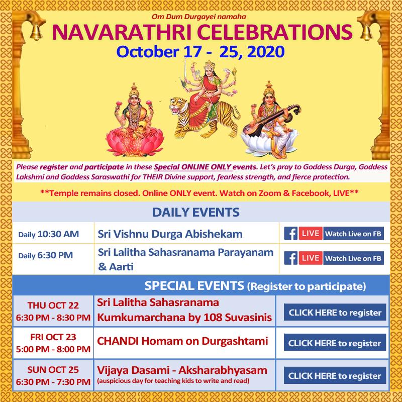 Navaratri 2020 - Oct 17 2020 till Oct 25 2020 SVCC Temple Fremont