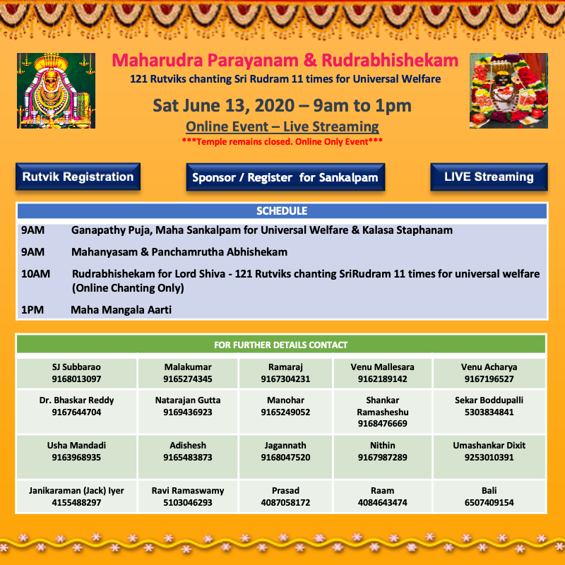 Maharudra Paranayam & Rudrabhishekam Jun 13 2020 6/13/2020 9AM - 1PM SVCC Temple Sacramento
